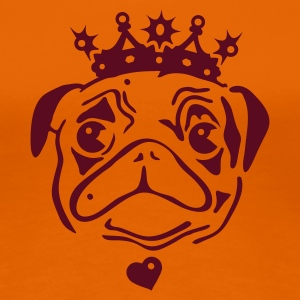 Golden orange Pug with crown and heart pendant. Women's T-Shirts - Women's Premium T-Shirt