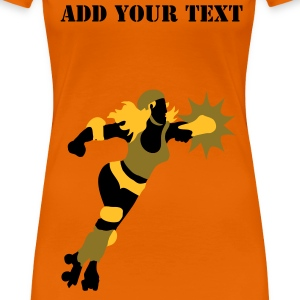 Orange roller derby action by Patjila Women's T-Shirts - Women's Premium T-Shirt