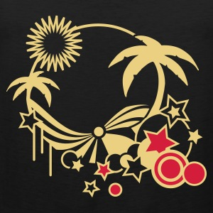 Olive Beach in the summer with palm trees, sun and sea Men's T-Shirts - Men's Premium Tank Top