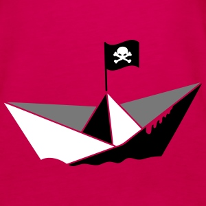 A paper boat with a pirate flag Tops - Women's Premium Tank Top
