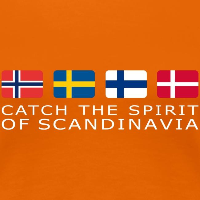 Women's T-Shirt CATCH THE SPIRIT OF SCANDINAVIA white-lettered