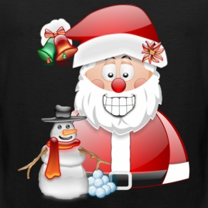 Christmas Scene Father Christmas & Snowman - Men's Premium Tank Top