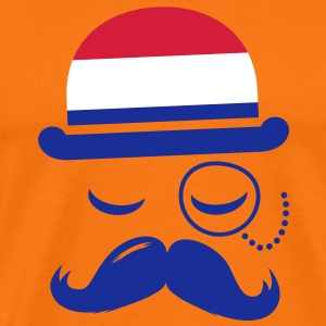Holland fashionable retro iconic gentleman with flag sports | olympics | football | Championship | Moustache |  T-Shirts - Men's Premium T-Shirt