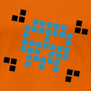 Orange Gamer Pixel Skull T-shirts - Premium-T-shirt dam