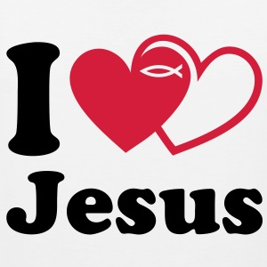 I love Jesus. Eucharist. Communion fish T-Shirts - Men's Premium Tank Top