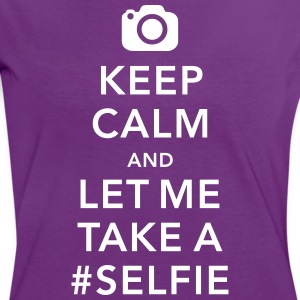funny Keep calm take a selfie #selfie meme T-shirts - Vrouwen contrastshirt