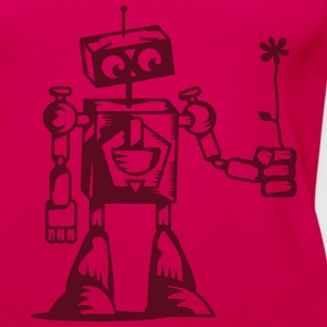 A robot with a flower Tops - Women's Premium Tank Top