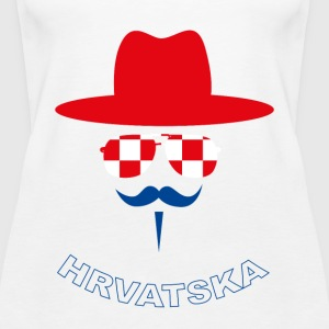 Croatia Fan with mustache Topper - Premium singlet for kvinner