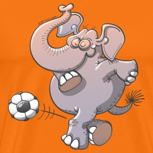 Elephant Kicking a Foot Ball T-Shirts - Men's Premium T-Shirt