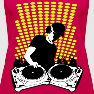 DJ with Turntables and background Tops - Women's Premium Tank Top