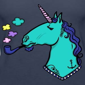 Navy Unicorn with tattoos and beard Tops - Women's Premium Tank Top