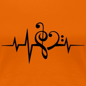 Frequency music notes clef heart pulse bass beat T-Shirts - Women's Premium T-Shirt