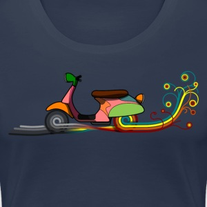 Navy Retro motorcycle T-shirts - Vrouwen Premium T-shirt