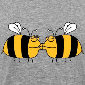 2 lovers kissing bees T-Shirts - Men's Premium T-Shirt
