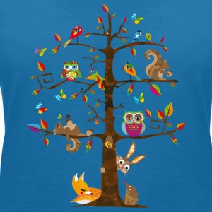 colorful animals on a tree  T-Shirts - Women's V-Neck T-Shirt