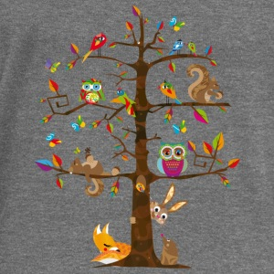 colorful animals on a tree  Hoodies & Sweatshirts - Women's Boat Neck Long Sleeve Top
