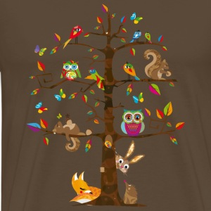 colorful animals on a tree  T-Shirts - Men's Premium T-Shirt