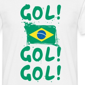 gol goal soccer football brazil brazilian flag T-Shirts - Men's T-Shirt