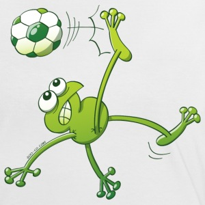 Frog Executing a Bycicle Kick with a Foot Ball T-Shirts - Women's Ringer T-Shirt