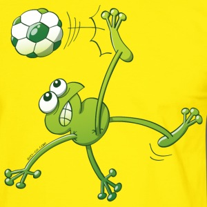 Frog Executing a Bycicle Kick with a Foot Ball T-Shirts - Men's Ringer Shirt