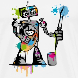 A robot with a brush  T-Shirts - Men's Premium T-Shirt