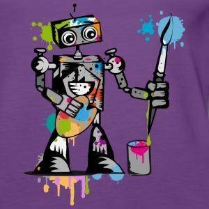 A robot with a brush  Tops - Women's Premium Tank Top