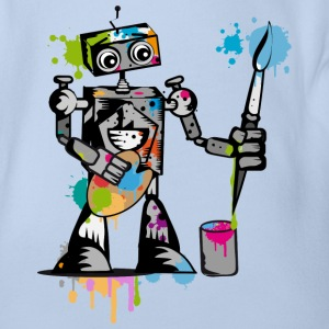 A robot with a brush  Shirts - Organic Short-sleeved Baby Bodysuit