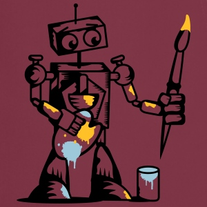 A robot with a paintbrush  Aprons - Cooking Apron