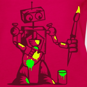 A robot with a paintbrush Tops - Women's Premium Tank Top