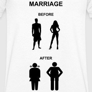 Marriage before / after T-Shirts - Mannen T-shirt met V-hals