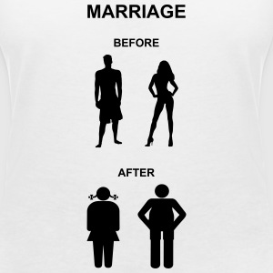 Marriage before / after T-Shirts - Vrouwen T-shirt met V-hals