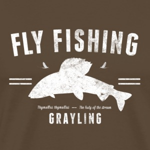 Fly fishing grayling - Premium-T-shirt herr