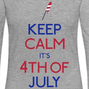 keep calm 4th of july holde ro 4 juli Skjorter med lange armer - Premium langermet T-skjorte for kvinner