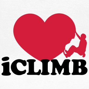 Climbing, iclimb,I Love Heart, Sports, Rock, Climb T-skjorter - T-skjorte for kvinner