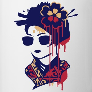 A geisha with sunglasses  Bottles & Mugs - Contrasting Mug
