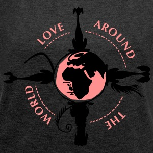 world_for_dogs T-Shirts - Frauen T-Shirt mit gerollten Ärmeln