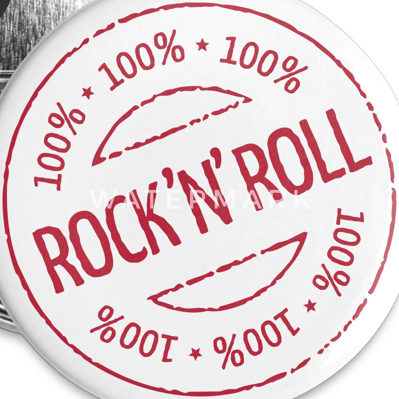 100% Rock 'n' Roll Stamp Buttons & Anstecker - Buttons klein 25 mm