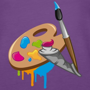 a Paint brush, colors and a painter's palette Tops - Women's Premium Tank Top