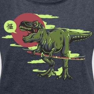 Dino Katana Invasion - bananaharvest T-Shirts - Women's T-shirt with rolled up sleeves