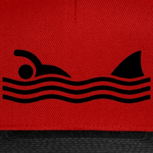 swimmer with shark Caps & Hats - Snapback Cap