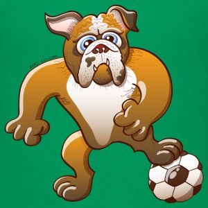 Bulldog Preparing to Kick a Foot Ball Shirts - Kids' Premium T-Shirt