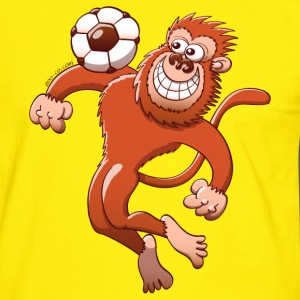Monkey Trapping a Foot Ball with its Chest T-Shirts - Men's Ringer Shirt