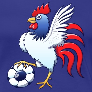 Rooster Posing and Stepping on a Foot Ball T-Shirts - Women's Premium T-Shirt