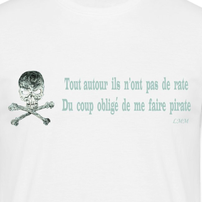 "T-shirt homme blanc ""Pirate"""