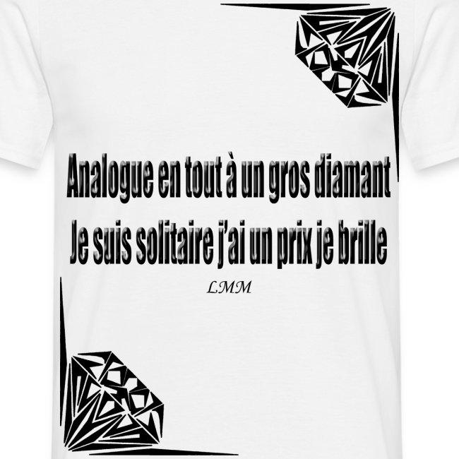 "T-shirt homme blanc ""Solitaire"""