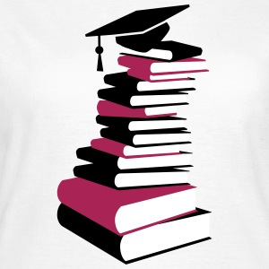 A stack of books with a mortarboard  T-Shirts - Women's T-Shirt