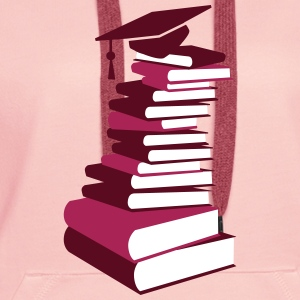 A stack of books with a mortarboard  Hoodies & Sweatshirts - Women's Premium Hoodie
