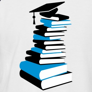 A stack of books with a mortarboard  T-Shirts - Men's Baseball T-Shirt