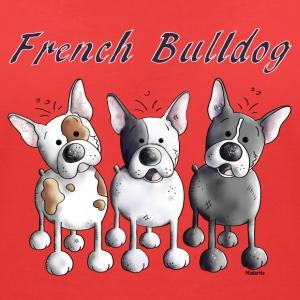 Three French Bulldogs - Bulldog - Dog T-Shirts - Women's V-Neck T-Shirt