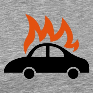 burning car - Premium T-skjorte for menn